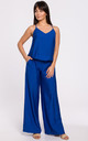 Wide Leg Jumpsuit on Straps in Blue by MOE