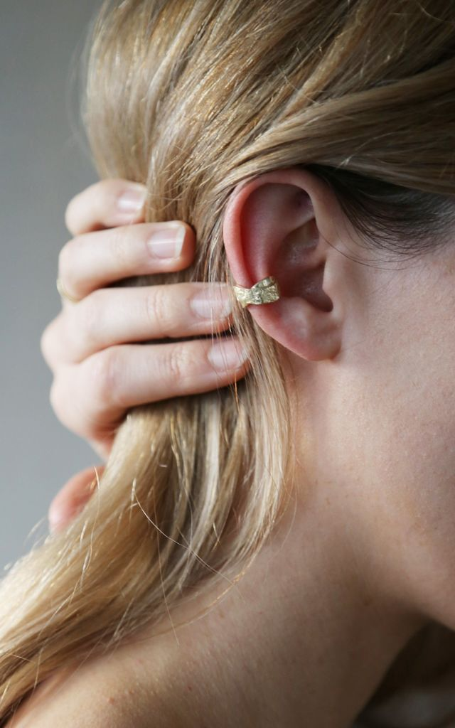 Gold Textured Chunky Ear Cuff by Tutti & Co