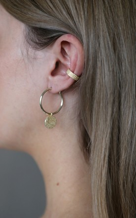Gold Textured Single Ear Cuff by Tutti & Co