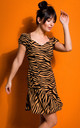 Mini Dress with Cap Sleeves in Brown Zebra Print by MOE