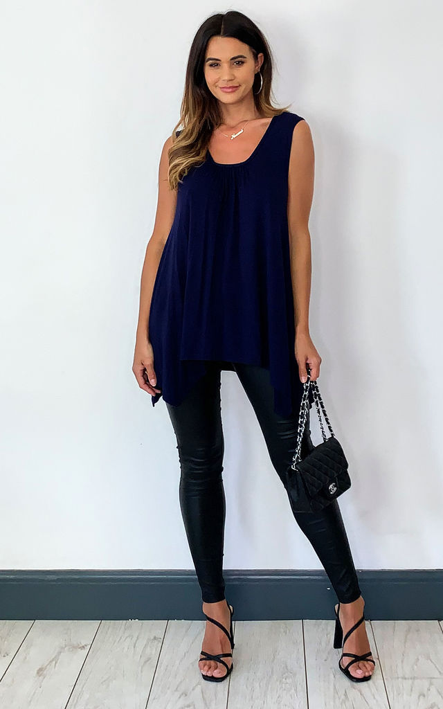 SLEEVELESS TOP WITH ASYMMETRIC HEM IN NAVY by Aftershock London