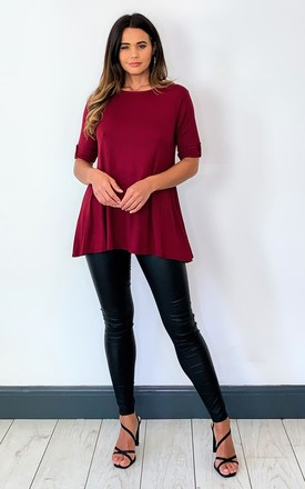 BUTTONED SLEEVE TOP IN BURGUNDY by Aftershock London