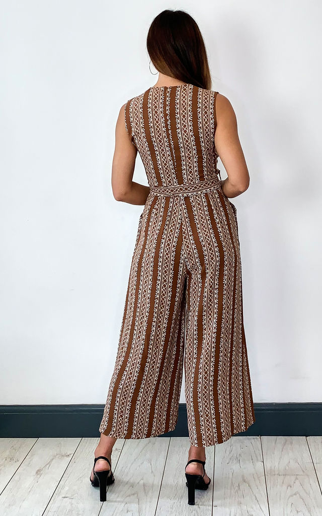 Cotton Wide Leg Jumpsuit with Aztec Stripe Tie Waist in Brown by Shikha London