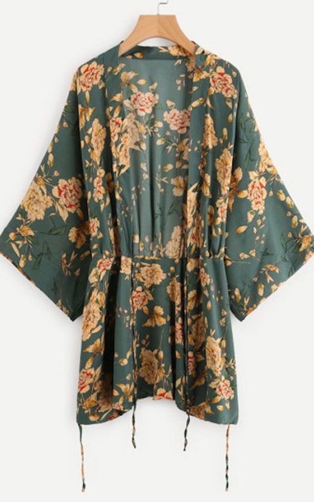 Kimono in Green and Golden Floral Print by Relle Fashion