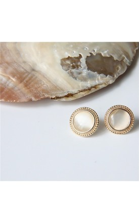 Gold Round Opal Stone Earrings by Always Chic