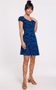 Mini Dress with Cap Sleeves in Blue Zebra Print by MOE