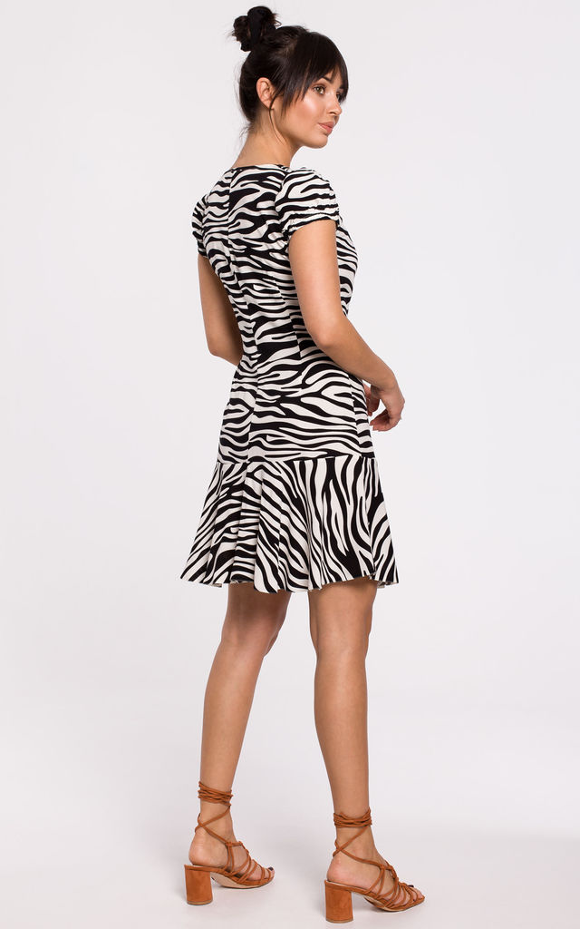 Mini Dress with Cap Sleeves in White Zebra Print by MOE