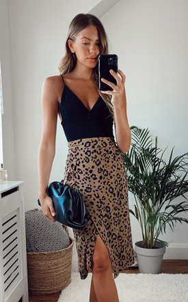 Exclusive Aria Wrap Midi Skirt Leopard Print by Pretty Lavish Product photo