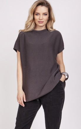 Knitwear blouse with short sleeves - graphite by MKM Knitwear Design