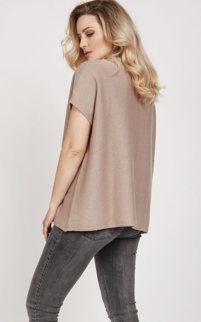 Knitwear blouse with short sleeves - mocca by MKM Knitwear Design