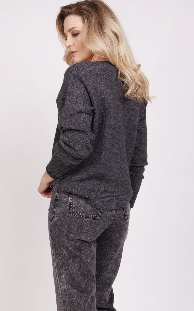 Loose cardigan - graphite by MKM Knitwear Design