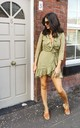 Frill Wrap Mini Dress in Sage Green/ White Teardrop Print by One Nation Clothing