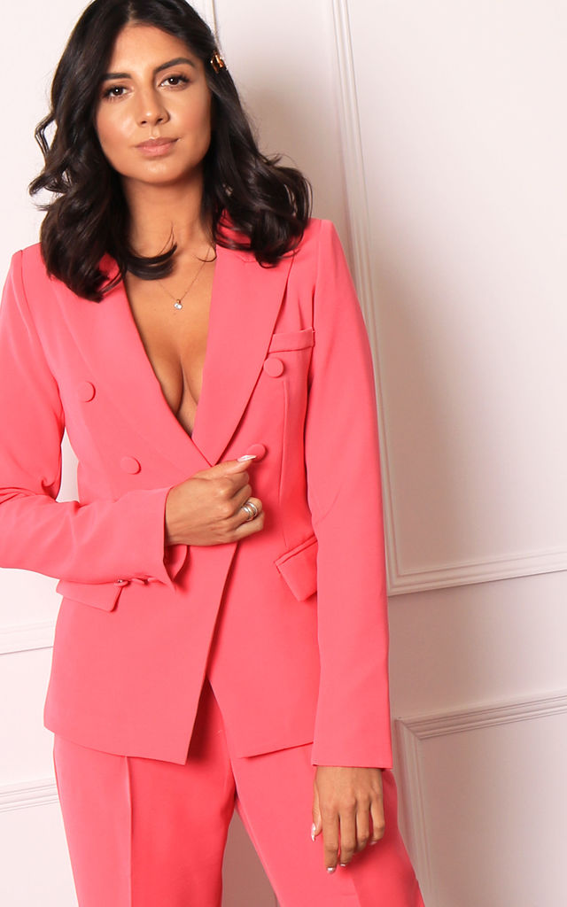 Double Breasted Button Blazer in Hot Pink by One Nation Clothing