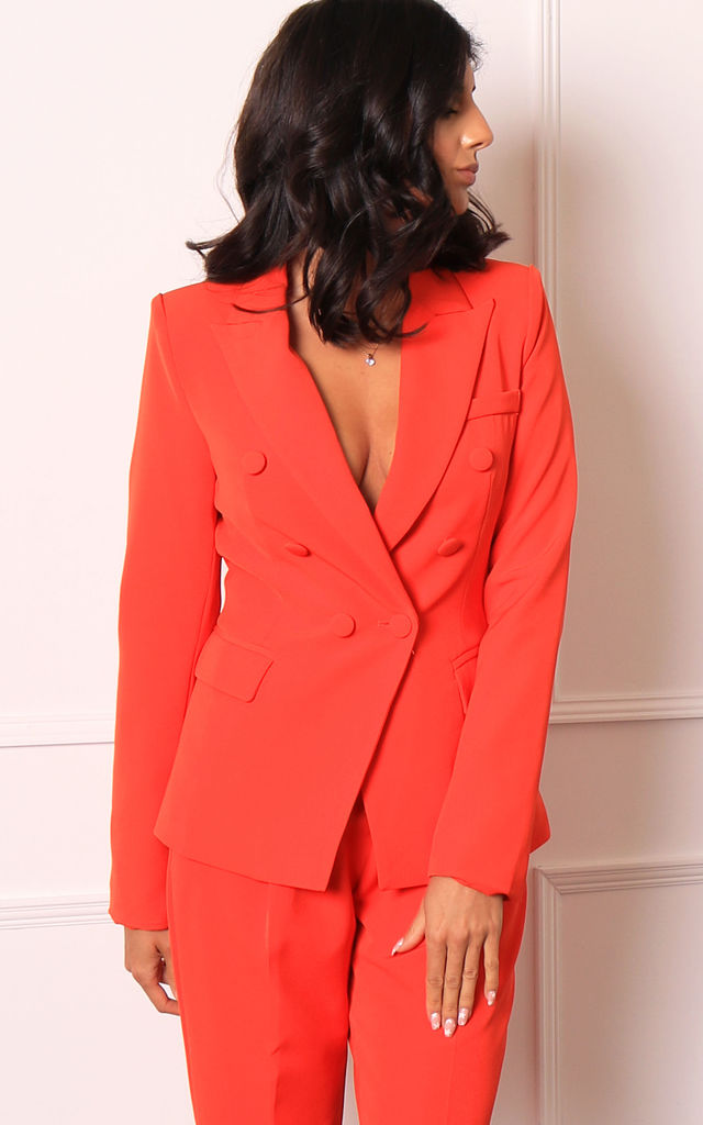 Double Breasted Blazer in Orange by One Nation Clothing
