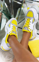 Parker Chunky Lace Up Trainers in Yellow by Larena Fashion