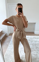 Claude Ribbed Loungewear Jumpsuit - Beige by Pretty Lavish