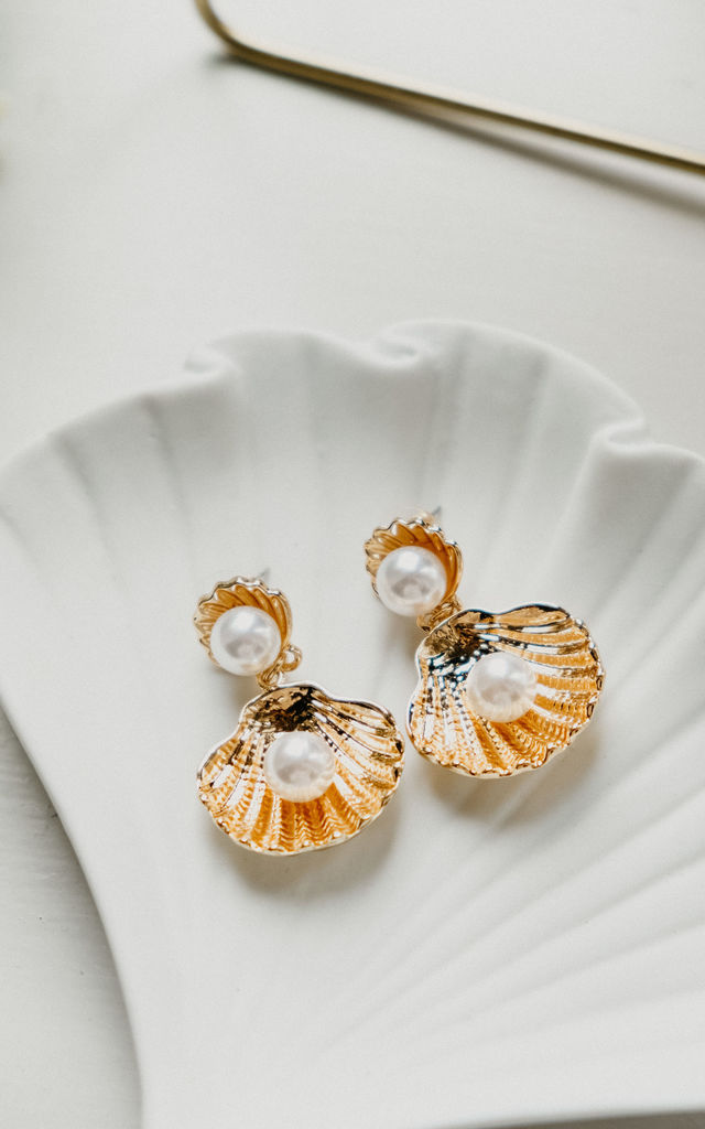 Ambrose Gold-tone Shell and Pearl Earrings by Ajouter Store