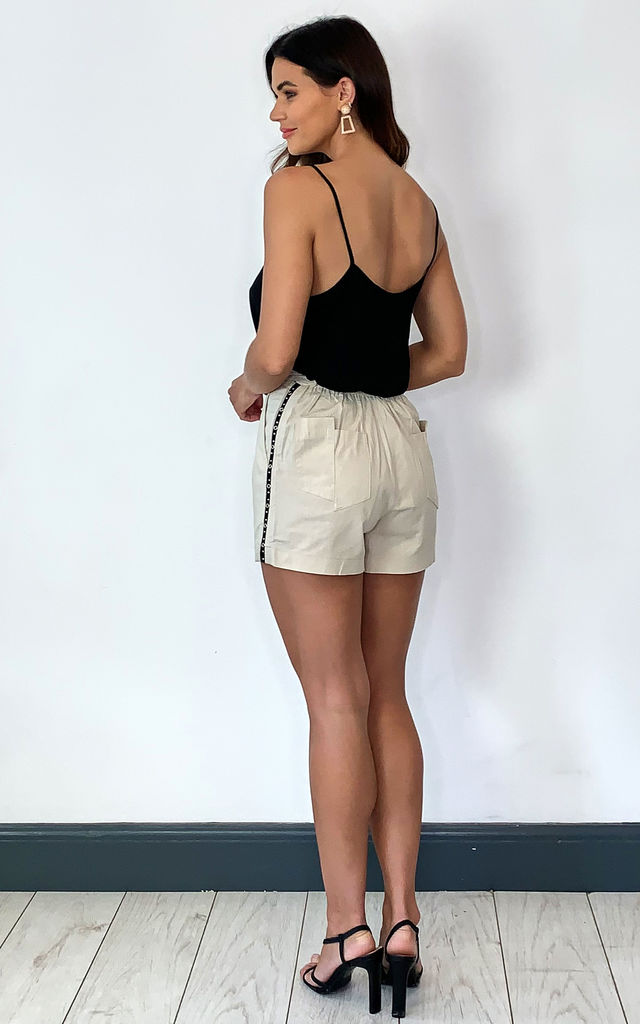 linen Island shorts with stud trim in stone by Religion