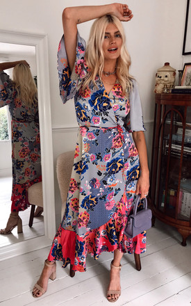 Exclusive Maxi Wrap Dress In Navy Floral With Contrast Hem And Balloon Sleeve by Liquorish Product photo