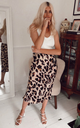 Satin Leopard Print Midi Slip Skirt Brown by URBAN TOUCH Product photo