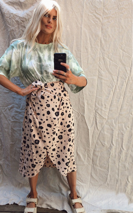 Midi Wrap Skirt In Animal Print Beige by Phoenix & Feather Product photo