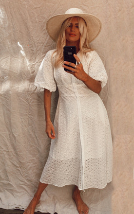 Exclusive Midi Broderie Shirt Dress With Balloon Short Sleeve In White by Liquorish Product photo