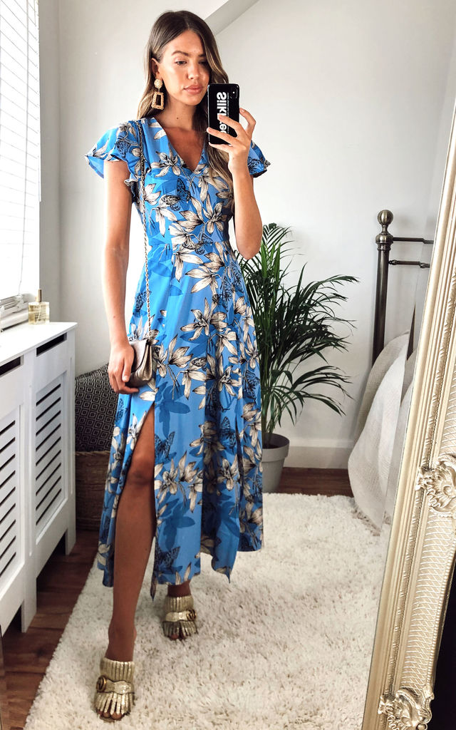 Blue Butterfly Maxi Dress by Yumi