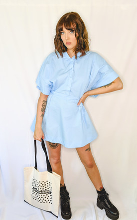 Blue loose fit belted shirt dress by ANOTHER REASON