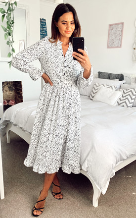 Dalmation Print Elastic Waist Midi Dress In White by Gini London Product photo