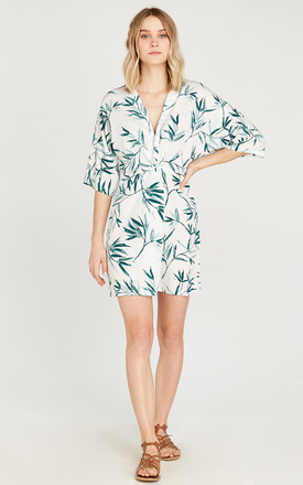 Cream Leaf Knot Front Dress by APRICOT