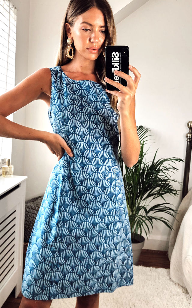 Nicole Dress in Blue Shell by Jaba