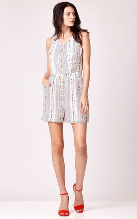 Dotted Stripe Print Playsuit by Cutie London