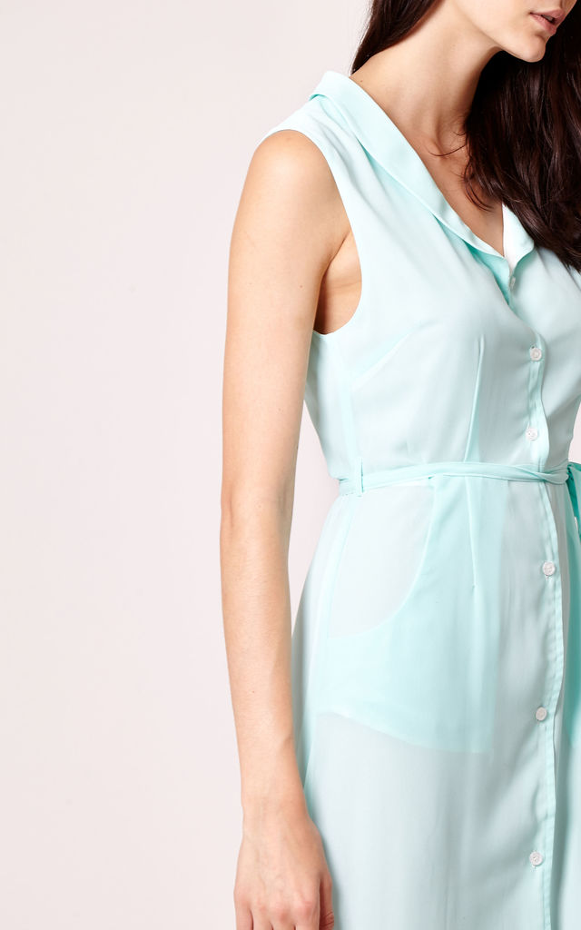 Pastel Blue Maxi Shirt Dress - Fully Lined by Cutie London