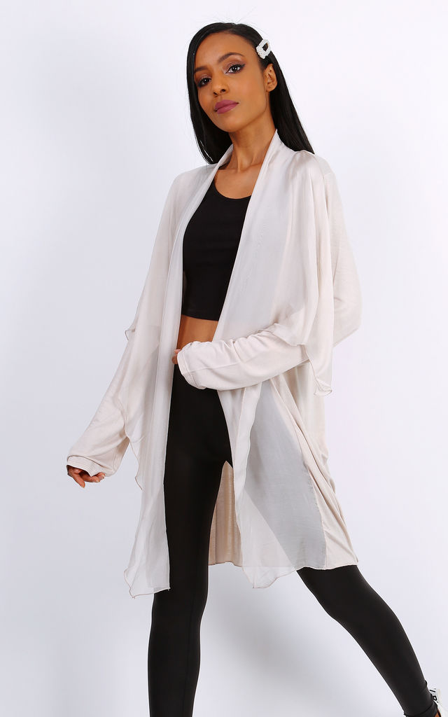 Beige Bi-Material Summer Cardigan by Azzediari Clothing