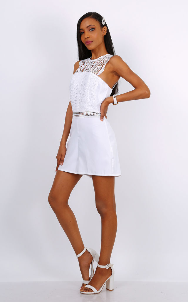 White Playsuit With Lace Panel Detail by Lilura London