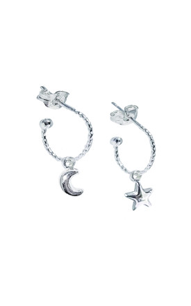 MINI SILVER HOOP EARRINGS with MOON AND STAR by Lucy Ashton Jewellery