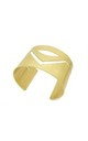 Geometric Cuff in Brushed Gold by White Leaf