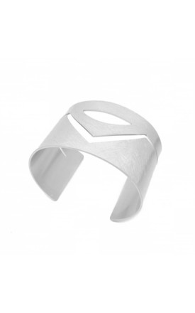 Geometric Cuff in Brushed Silver by White Leaf