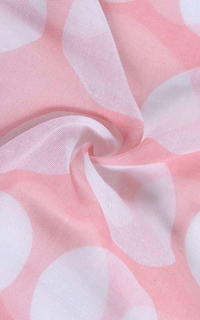 Large Polka Dot Print Scarf - Light Pink by Xander Kostroma