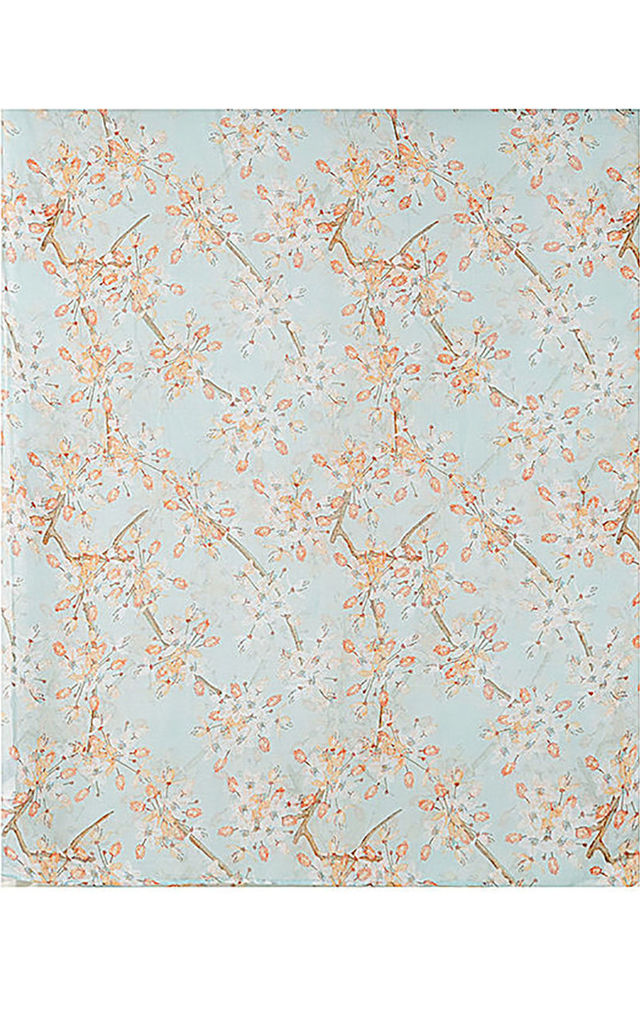 All Over Japanese Cherry Blossom Print Scarf - Mint Green by Xander Kostroma