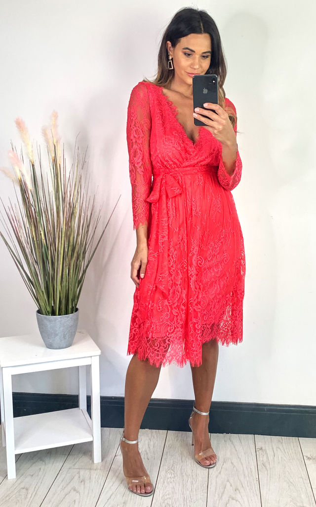 LACE V-NECK MIDI DRESS IN HOT PINK by City Goddess