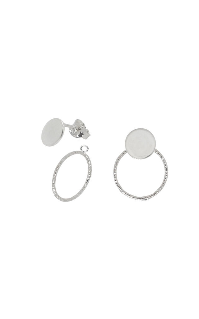 DISC AND CIRCLE STUD EARRINGS AND EAR JACKETS STERLING SILVER by Lucy Ashton Jewellery