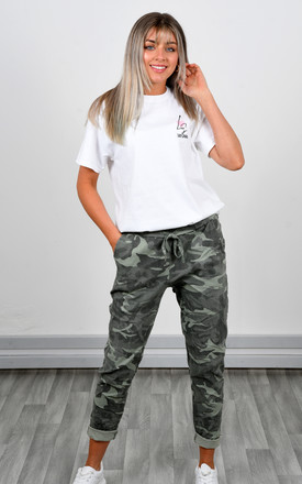 CAMOUFLAGE PRINT STRETCHY MAGIC TROUSERS (KHAKI GREEN) by Lucy Sparks