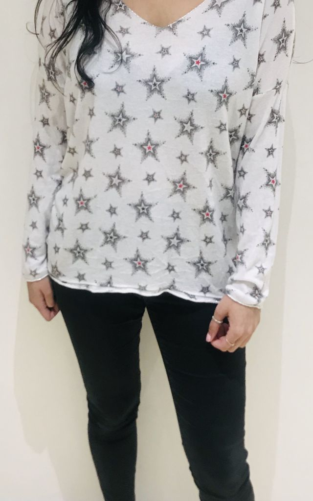 White Sparkle Star Italian Knit Top by Tilly Tizarro
