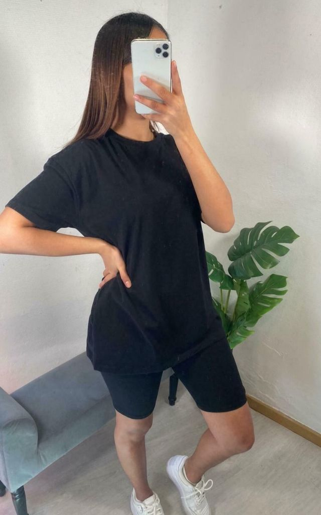 Black Top and Cycling Shorts Co ord Lounge set by GIGILAND UK