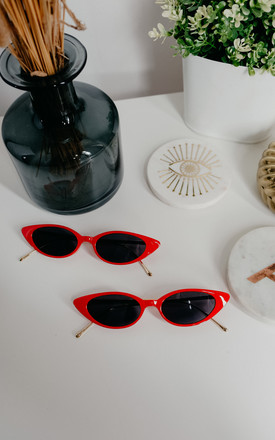 Lora Red and Gold Cat Eye Sunglasses by Ajouter Store
