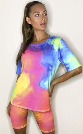 Soph Tie Dye Cycle Shorts & Top Co-ord in Multicolour by IKRUSH