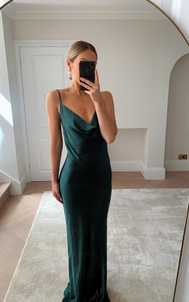 Bridesmaids Keisha Maxi Dress   Matte Emerald Green by Pretty Lavish Product photo