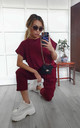 Wine Red Round Neck Loungewear Tracksuit Co ord | Top & Joggers by GIGILAND
