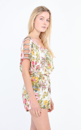 Playsuit With Open Shoulder Detail In White Floral Print by Lilura London